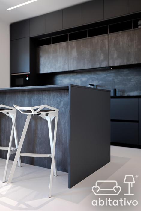 cucina scura stile minimale osimo